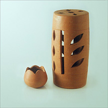 Stylish Candle Holder with Internal Base Pot, made of burnt clay